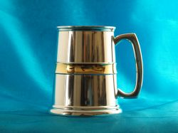 Pewter Tankard with Gold Plated Trim