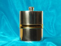 Pewter Hip Flask with Gold Plated Trim