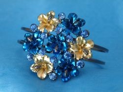 Enamel and Crystal Flower Bangle