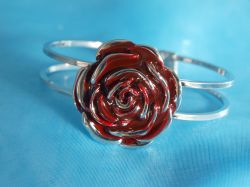Enamelled Rose Bangle