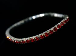 Silver and Red Swarovski Crystal Bracelet
